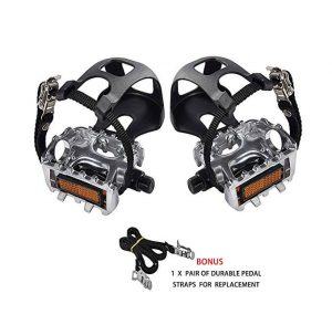 9//16inch Spindle Spin Bike and Outdoor Bike Multi-Purpose Pedal NAMUCUO Bike SPD Pedals for Exercise Bike Half Year Warranty. Hybrid Pedal with Toe Clip and Straps